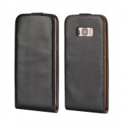 Black Vertical Flip Genuine Split Leather Smart Case Cover For Samsung Galaxy S8 Plus