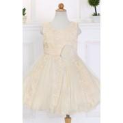 Lejdi Beżowa tiulowo koronkowa sukienka dla dziewczynki sukienki dla dziewczynek