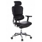Hjh Sedia ergonomica ERGOMAX in Pelle, 100% regolabile, poggiatesta e braccioli, vera pelle, nero
