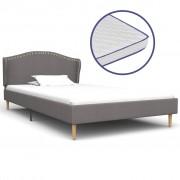 vidaXL Легло с матрак от мемори пяна, светлосиво, плат, 90x200 см