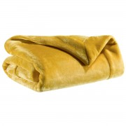 Miliboo Plaid en polyester jaune curry 150 x 200 cm FERO
