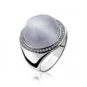 Zinzi - Zilveren Ring - Grijze Cateye - Zirkonia - Maat 54 (ZIR801-54)