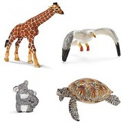 Schleich Animals Set of 4 Unlikely Friends; 14321 Giraffe Calf 14720 Seagull 14677 Koala Bear with Cub 14695 Sea Turtle