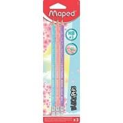 Creioane cu guma Black Peps Pastel HB 3 buc/set Maped