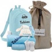 babykadowinkel.nl Babypakket rugtas blauw met naam