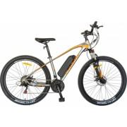 Bicicleta electrica MTB E-BIKE CARPAT 27.5 inch C1009E cadru aluminiu frane mecanice disc transmisie SHIMANO 21 viteze gri-portocaliu
