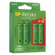 GP ReCyko+ 1,2V 2600mAh AA elemméretű akkumulátor 4 + 2 db AJÁNDÉK