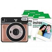 Fuji Instant Camera Instax Square SQ6 Blush Gold + 1 x 10 shot film pack, 1 x 20 shot film pack