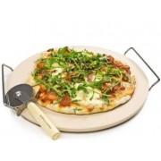 Piatra pt copt pizza cu manere si cutit pizza, Diametru 33cm, Material ceramic, AJ000009