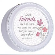Good Friends Are Like Stars Glossy Lavender Tiny Round Music Box Plays You are My Sunshine by Cottage Garden