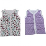 Krivi Kids Multi color Set of 2 Front Open Sleeveless Top For Baby Boys And Baby Girls .( 6-9 Months)