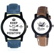 Men Power Of Positive Thinking And Queen Dial Couple Analogue Watch By Vivah Mart