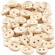 Geen Naai accessoires blank houten knopen 50 stuks