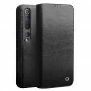 QIALINO Luxury Genuine Leather Wallet Phone Case for Xiaomi Mi 10 Pro - Black