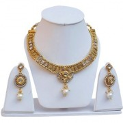 Lucky Jewellery Elegant White Color Gold Plated Copper Necklace Set For Girls & Women