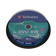 DVD-RW VERBATIM 4,7GB 4X MATT SILVER SURFACE SPINDLE 10 43552