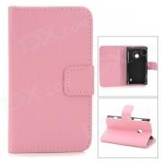 Elegante llano Flip-abierto de cuero PU caso w / Holder + tarjeta ranura para Nokia Lumia 520 - Rosa