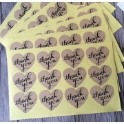 "100PCS/lot Vintage ""Thank you"" series romatic Heart Kraft Paper Sticker for Handmade Products multifunctional Gift seal label"
