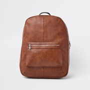 River Island Mens Brown faux leather front pocket backpack (One Size)