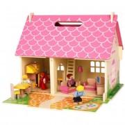 Hordozható Fa babaház babákkal, bútorokkal Blossom Cottage JT123