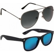 Debonair Aviator, Wayfarer Sunglasses(Grey, Blue)