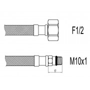 "Racord flexibil baterii F1/2""xM10 cu capat scurt, 50cm, Techman WBS22"