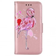 Samsung A3 2017 Case,IKASEFU Glitter flamingo Pu Leather Bling Glitter Wallet Strap Case with Card Holder Magnetic Flip Cover Protective Case Cover for Samsung Galaxy A3 2017,Rose gold