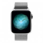Apple Watch Series 4 - boîtier en acier inoxydable en argent 40mm - bracelet milanais en argent (GPS+Cellular)