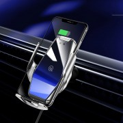 USAMS 15W Wireless Fast Charging Car Charger Automatic Clamping Car Air Vent Phone Holder - Silver