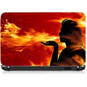 VI Collections Fire Moon Girl Printed Vinyl Laptop Decal 15.5