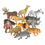 Toy Spout 12 Realistic Animal Figures by Educational Toys, Zoo Animals, Preschool Toys -Wild Vinyl Plastic Learning Party Favors for Boys Girls Kids Toddlers Forest Small Farm Animals
