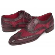 Paul Parkman Suede & Calfskin Wingtip Oxford Shoes Bordeaux 228BRDSD