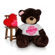 5 feet big chocolate brown teddy bear wearing Best Sister T-shirt
