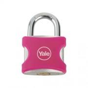 Lacat din aluminiu roz cu cheie Yale YE3/32/116/1/P