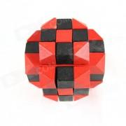 De madera de seis caras rompecabezas educativo desbloqueo juego de juguete para ninos / ninos - rojo + negro