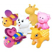 Puzzled Bath Buddies Collection - sitting pig, cat, deer, giraffe, butterfly and honeybee, Set of 6
