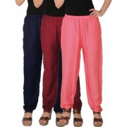Culture the Dignity Women's Rayon Solid Casual Pants Office Trousers With Side Pockets Combo of 3 - Navy Blue - Maroon - Baby Pink - C_RPT_B3MP2 - Pack of 3 - Free Size