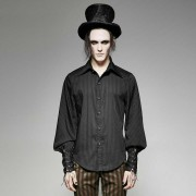 Punk Rave Alfred Stripe Lantern Long Sleeved Shirt Black Y-719