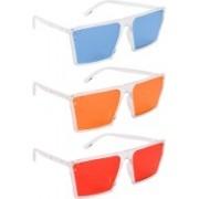 NuVew Retro Square, Wayfarer Sunglasses(Blue, Orange, Red)