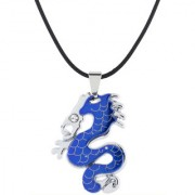 The Jewelbox Punk Biker Dragon Snake Blue Surgical Stainless Steel Pendant Necklace Chain For Boys Men