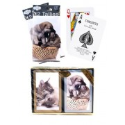 Bundle - 3 items: 1 Congress Playing Cards Cat & Dog Bridge (2 Decks), with 2 Packs (12 Each Pack) Tallies, Standard Index