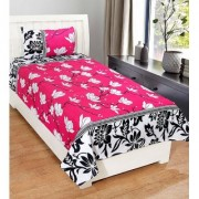 craftwell little flowers on pink base (print on topbottom) 3d single bedsheet with 1 pillow cover
