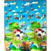 Covoras de joaca bebe cu 2 fete 150x180 cm