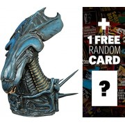 "Alien Queen: ~8"" Aliens x Diamond Select Figural Bust Bank + 1 FREE Classic Sci-fi & Horror Movies Trading Card Bundle (81397)"