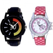 Round Dial Black Yellow And Pink Flowers Couple Analogue Watch By Vivah Mart