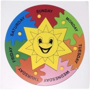 SHRIBOSSJI Days of the Week wooden puzzle with knob for kids (Multicolor)