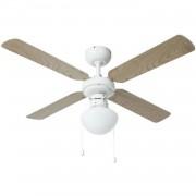 Bestron plafondventilator DHB42W met lamp 102cm - wit en ahorn