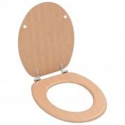 vidaXL Capac WC cu închidere standard, MDF, design bambus