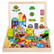 Tabla magnetica din lemn cu 2 fete si puzzle Urban Traffic Magnetic Puzzle Set 7 piese