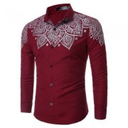 Mens Hipster Casual Slim Fit Long Sleeve Button Down Dress Shirts